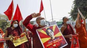 myanmar budhist monks protest